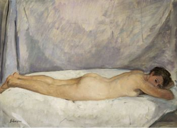 Female Nude Laying 1928   Henri Lebasque   oil painting