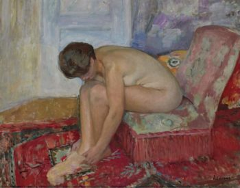 Female Nude Seated   Henri Lebasque   oil painting