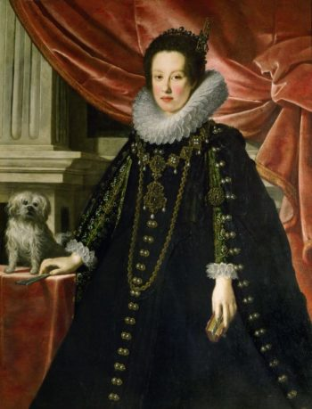 Archduchess Anna de Medici with a puppy knee length | Justus Suttermans | oil painting