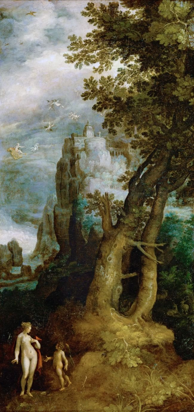 Venus and Cupid Before the Castle of Love | Joseph Heintz the Elder | oil painting