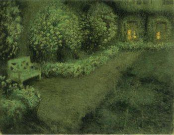 White Garden under the Moon  Gerberoy 1925 30 | Henri Le Sidaner | oil painting