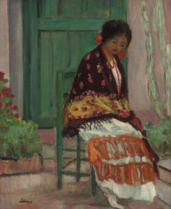 Woman in Flowery Shawl   Henri Lebasque   oil painting