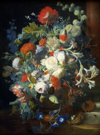 Bouquet & column | Jan van Huysum | oil painting