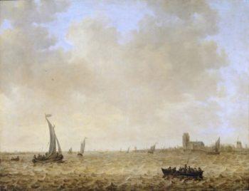 Seascape with View of Dordrecht   Jan van Goyen   oil painting