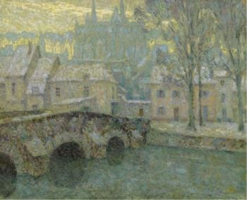 Chartres in Snow 1918 | Henri Le Sidaner | oil painting