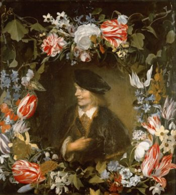 Portrait of a Young Man surrounded by Flowers | Jan Lievensz | oil painting