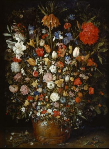 Flowers in a Wooden Vessel | Jan Brueghel the elder | oil painting