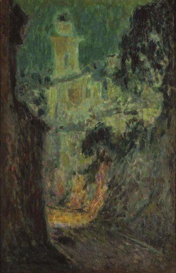 Street under the Moon Villefranche sur Mer 1926 | Henri Le Sidaner | oil painting