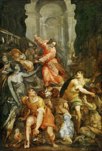 Expulsion of the Merchants from the Temple | Jacopo Zucchi Attributed | oil painting