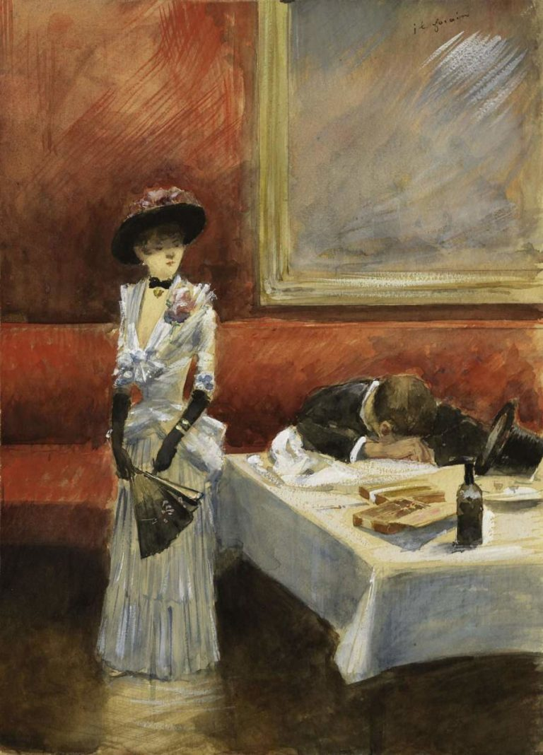 At the Restaurant 1885 | Jean Louis Forain | oil painting