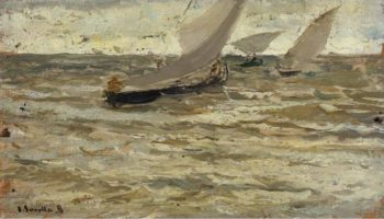 Boats Leaving the Harbour Asturias | Joaquin Sorolla y Bastida | oil painting