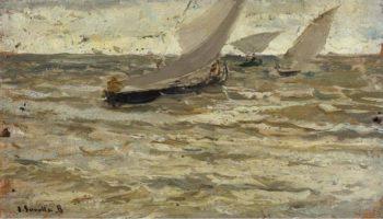 Boats Leaving the Harbour Asturias | Joaquin Sorolla y Bastida | oil painting