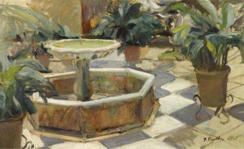 Fountain in a Courtyard Seville 1915 | Joaquin Sorolla y Bastida | oil painting