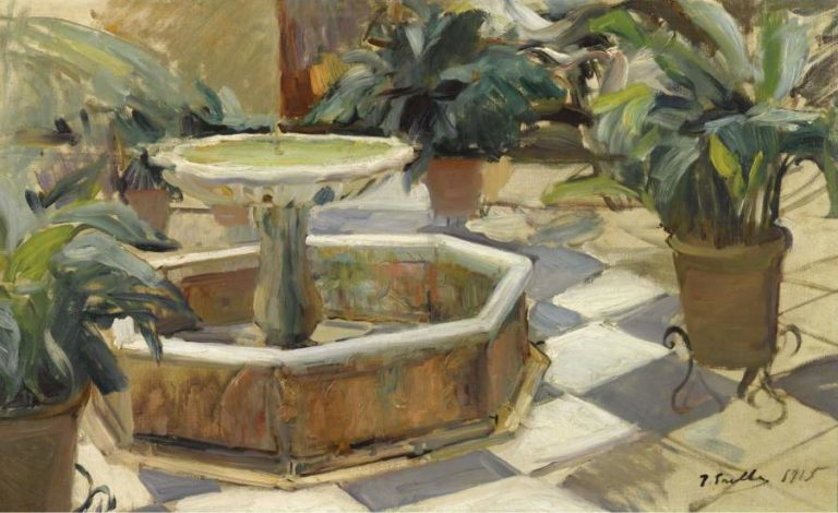 Fountain in a Courtyard Seville 1915   Joaquin Sorolla y Bastida   oil painting