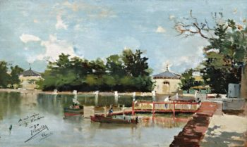 View of the Jetty in the Retiro Gardens Madrid 1882 | Joaquin Sorolla y Bastida | oil painting