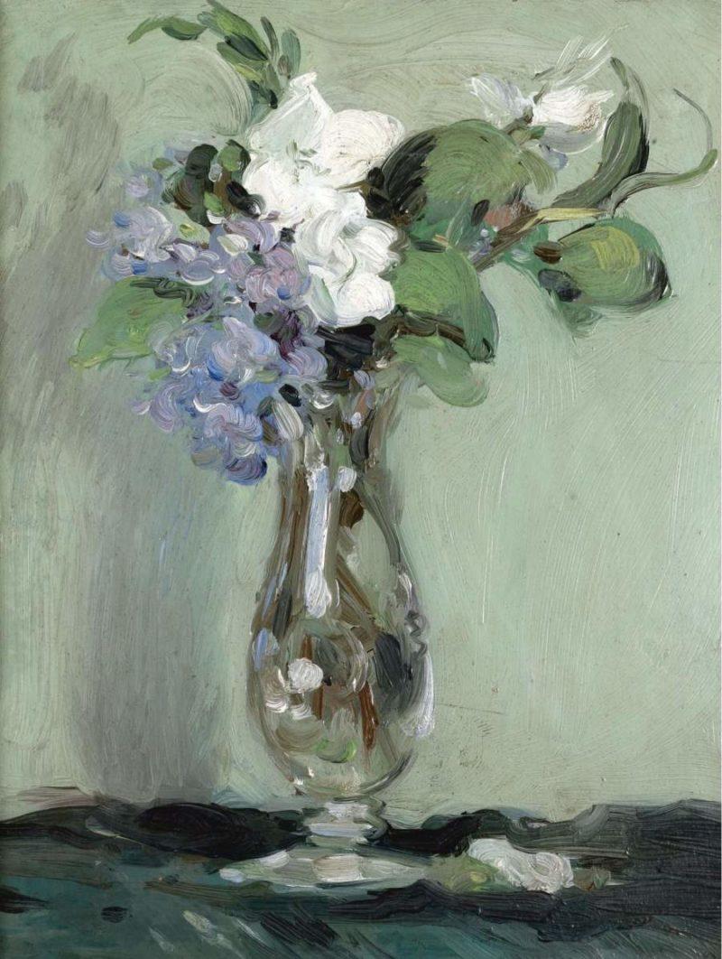 Still Life of Primulas in a Glass Vase 1903   John Duncan Fergusson   oil painting