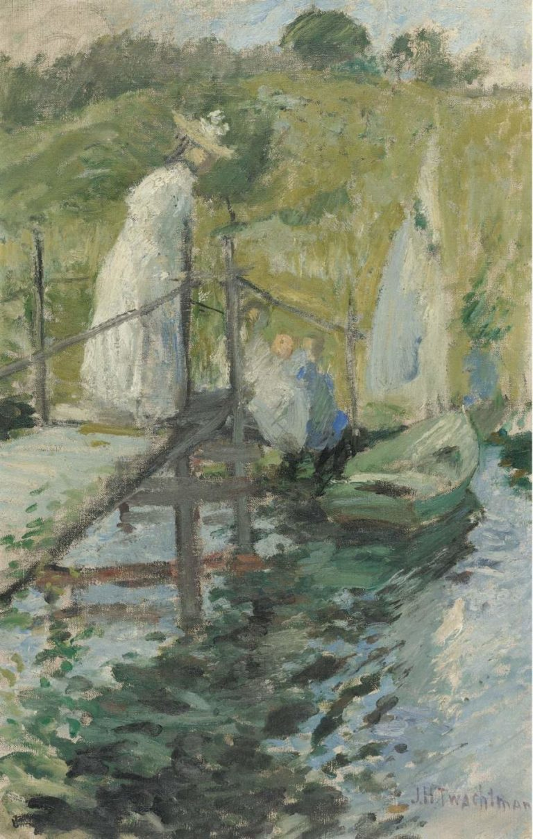 Summer Afternoon (Figures on a Bridge) 1900 | John Henry Twachtman | oil painting