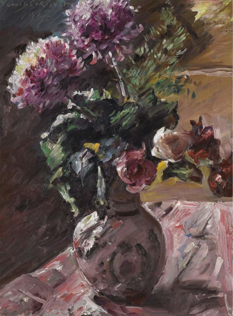 Chrysanthemums and Roses in a Pitcher 1917 | Lovis Corinth | oil painting