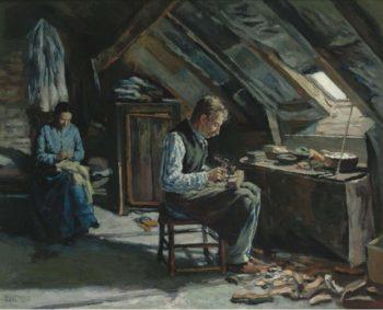 Boot Maker on Mansarde 1883   Maximilien Luce   oil painting
