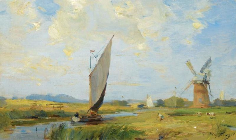 A Breezy Day on the Canal   William Miller Frazer   oil painting