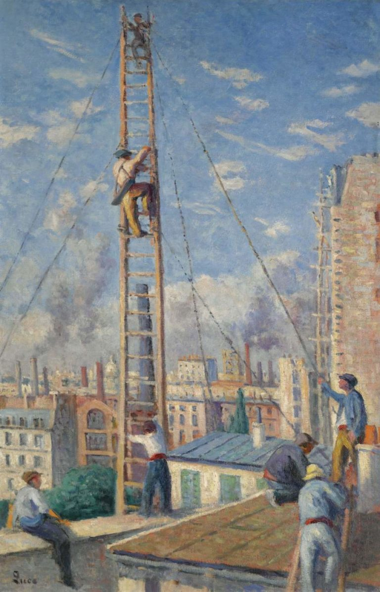 Scaffolds Raising 1914 | Maximilien Luce | oil painting