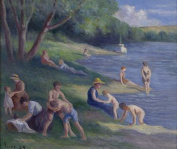 The Beach at Mericourt 1929   Maximilien Luce   oil painting