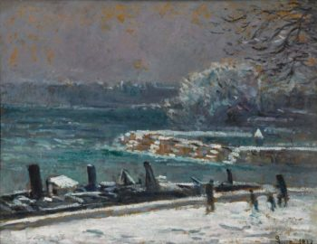 The Lock of the Bridge of Arts Winter 1913 | Maximilien Luce | oil painting