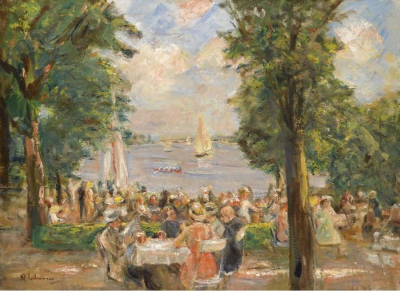 Beergarden near the Wannsee (House on the Lake) 1933   Max Liebermann   oil painting