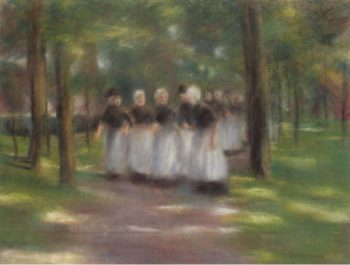 Sunday Afternoon in Laren Alley with Girls 1897 | Max Liebermann | oil painting