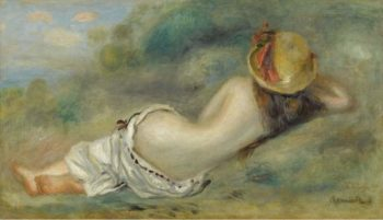 Bather in Hat Laying on the Grass 1892 | Pierre Auguste Renoir | oil painting