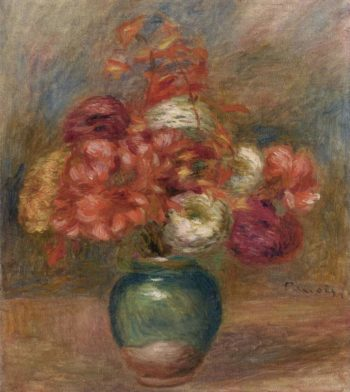 Bouquet of Flowers in Green Vase | Pierre Auguste Renoir | oil painting
