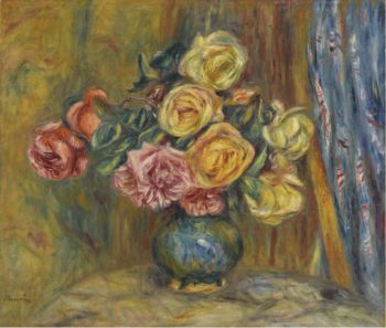 Roses with Blue Curtain 1912 | Pierre Auguste Renoir | oil painting