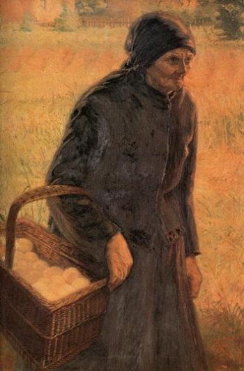 The Old Egg Seller | Emmanuel Zairis | oil painting