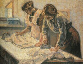 Women ironing | Emmanuel Zairis | oil painting