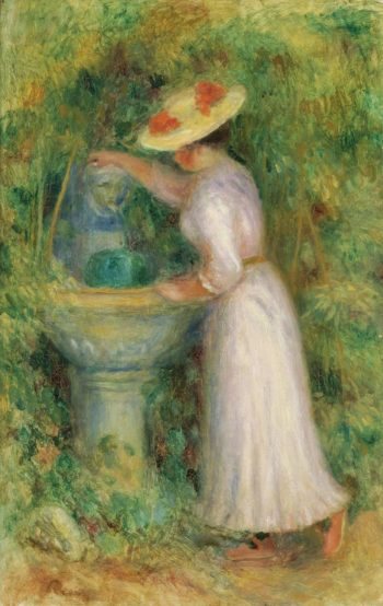 Young Girl near Fountain 1885 | Pierre Auguste Renoir | oil painting