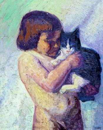 Child with cat | Emmanuel Zairis | oil painting