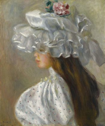 Young Woman in White Head 1892 | Pierre Auguste Renoir | oil painting