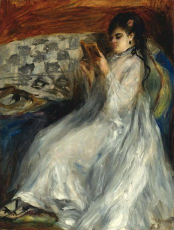 Young Woman in White Reading 1873 | Pierre Auguste Renoir | oil painting