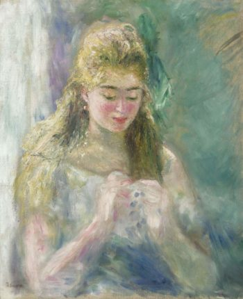 Young Woman Sewing 1875 | Pierre Auguste Renoir | oil painting