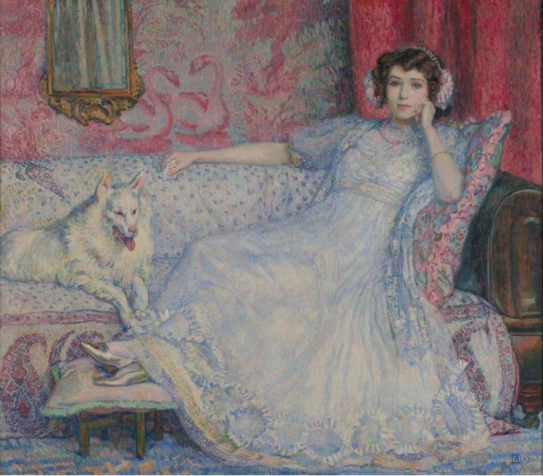 Lady in White (Portrait of Madame Helene Keller) 1907 | Theo van Rysselberghe | oil painting