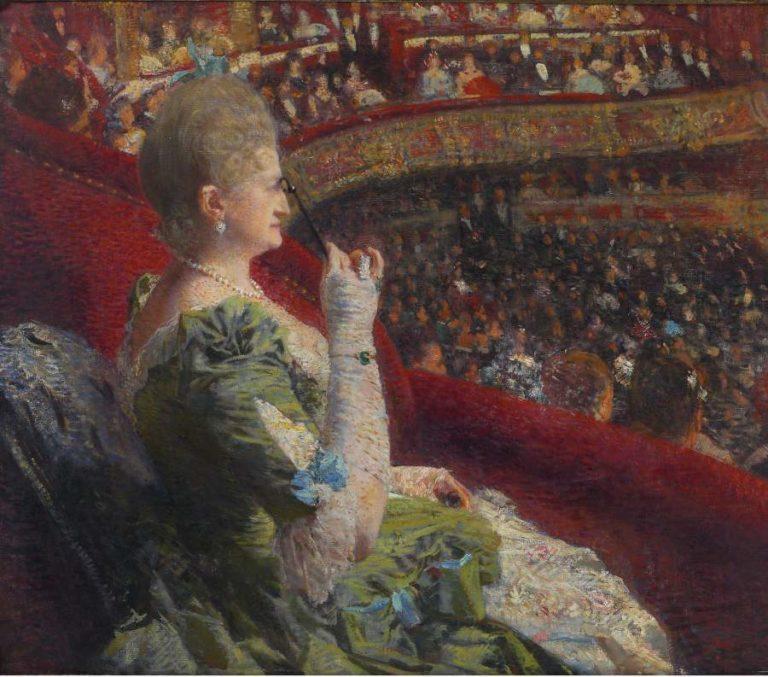 Madame Edmond Picard in the Box of Theatre de la Monnaie 1887 | Theo van Rysselberghe | oil painting
