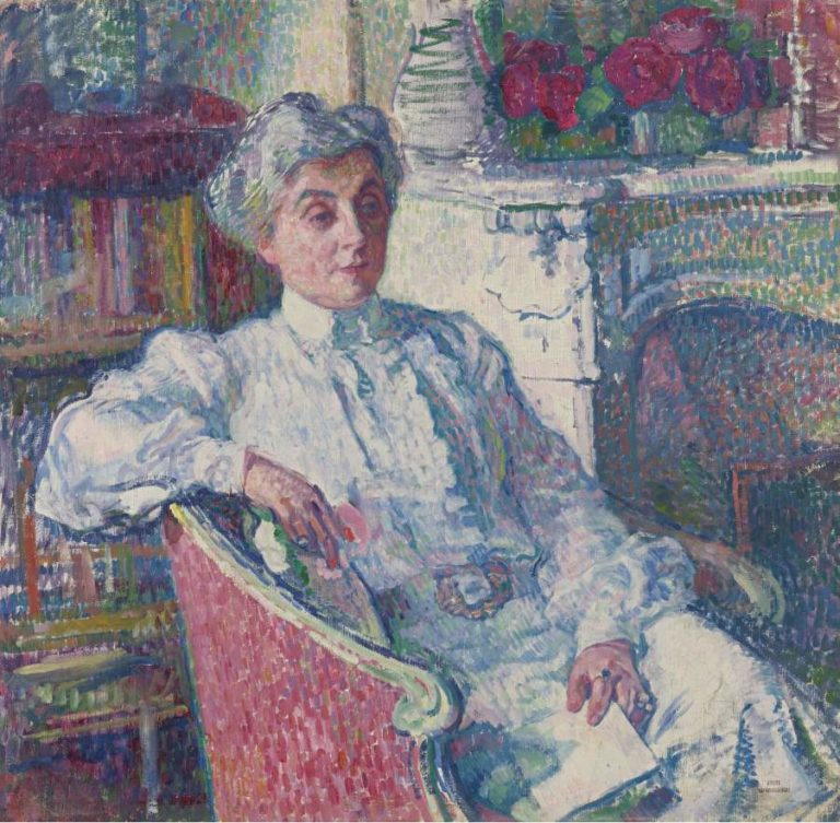 Maria van Rysselberghe by the Fire Place 1913 | Theo van Rysselberghe | oil painting
