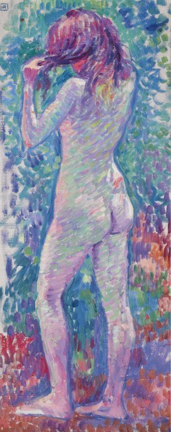 Standing Nude Combing Hair 1907   Theo Van Rysselberghe   oil painting