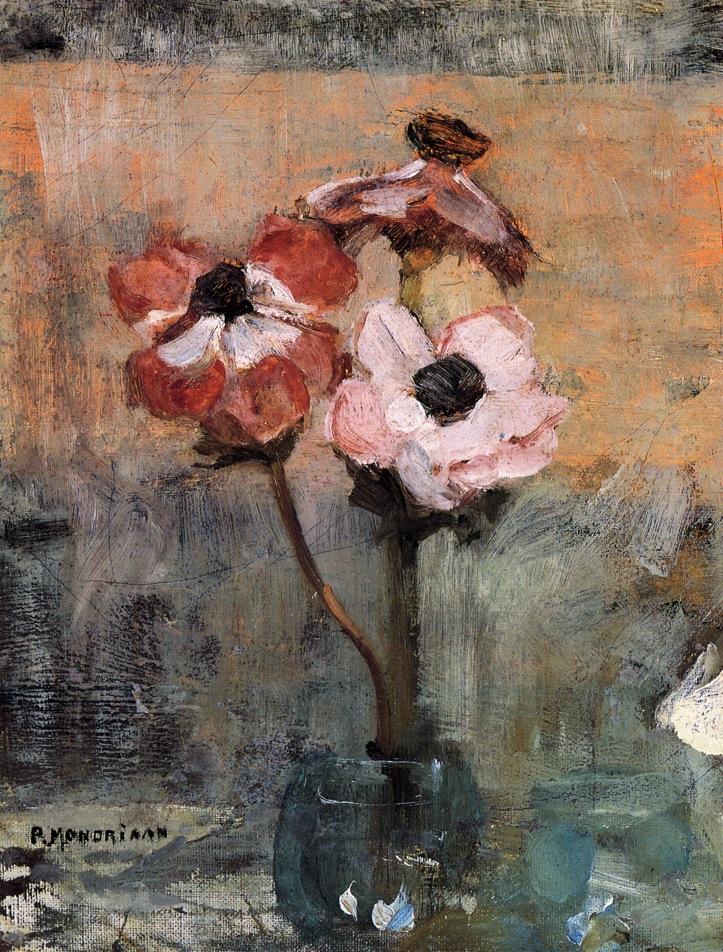 Anemones in a Vase   Piet Mondrian   oil painting