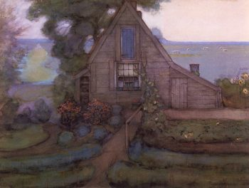 Triangulated Farmhouse Facade with Polder in Blue | Piet Mondrian | oil painting