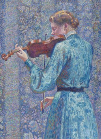 Woman Playing Violin 1903 | Theo van Rysselberghe | oil painting