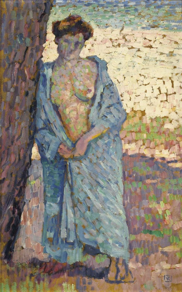 Young Woman in Blue Peignoir 1905 | Theo van Rysselberghe | oil painting