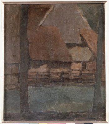 Gable Farm with trees | Piet Mondrian | oil painting