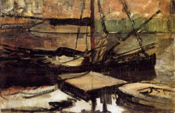 Moored ships Sun | Piet Mondrian | oil painting