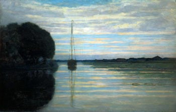 River view with a boat Sun | Piet Mondrian | oil painting